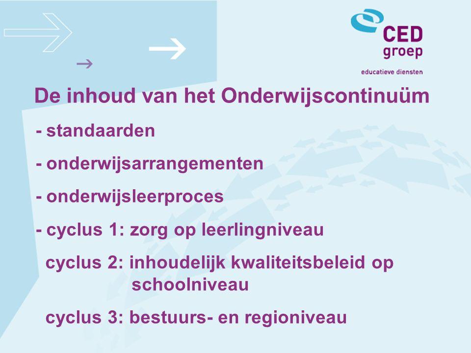 - standaarden - onderwijsarrangementen - onderwijsleerproces - cyclus 1: zorg op leerlingniveau cyclus 2: inhoudelijk kwaliteitsbeleid op schoolniveau cyclus 3: bestuurs- en regioniveau
