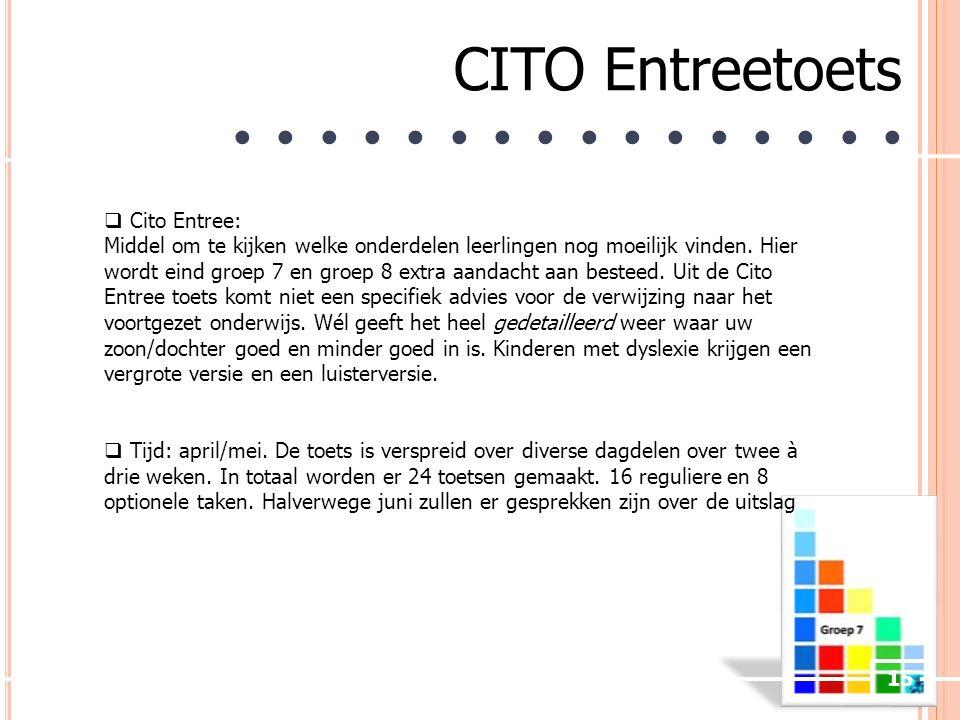 15 CITO Entreetoets ● ● ● ● ● ● ● ●  Cito Entree: Middel om te kijken welke onderdelen leerlingen nog moeilijk vinden.