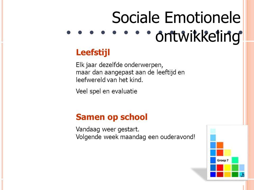 9 ● ● ● ● ● ● ● ● Sociale Emotionele ontwikkeling Leefstijl Elk jaar dezelfde onderwerpen, maar dan aangepast aan de leeftijd en leefwereld van het kind.