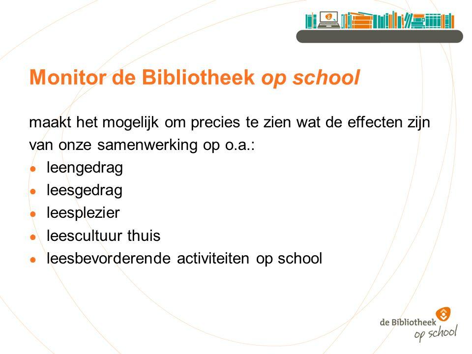 Monitor de Bibliotheek op school maakt het mogelijk om precies te zien wat de effecten zijn van onze samenwerking op o.a.: ● leengedrag ● leesgedrag ● leesplezier ● leescultuur thuis ● leesbevorderende activiteiten op school