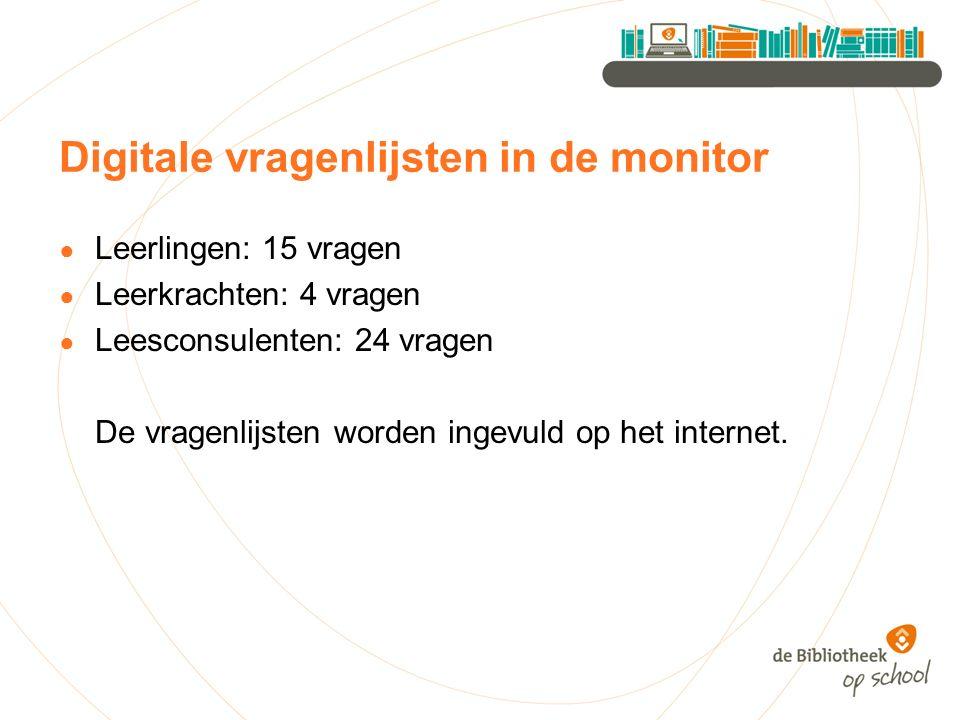 Digitale vragenlijsten in de monitor ● Leerlingen: 15 vragen ● Leerkrachten: 4 vragen ● Leesconsulenten: 24 vragen De vragenlijsten worden ingevuld op het internet.