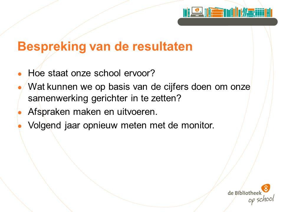 Bespreking van de resultaten ● Hoe staat onze school ervoor? ● Wat kunnen we op basis van de cijfers doen om onze samenwerking gerichter in te zetten?