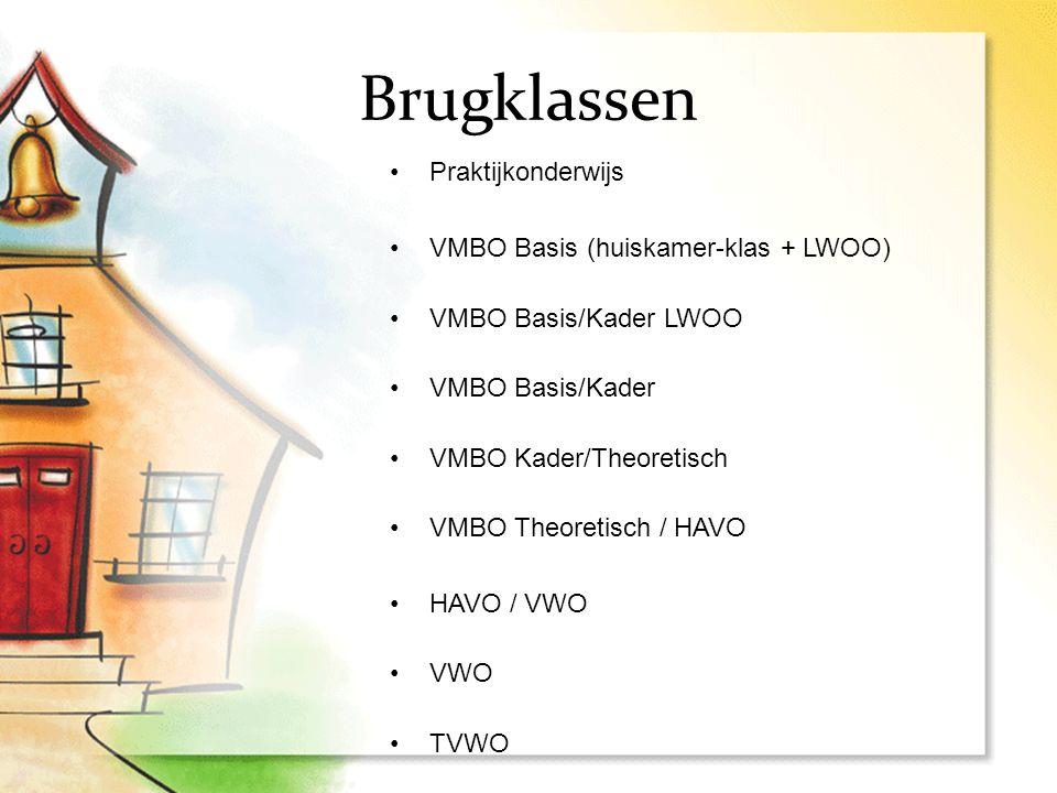 Brugklassen Praktijkonderwijs VMBO Basis (huiskamer-klas + LWOO) VMBO Basis/Kader LWOO VMBO Basis/Kader VMBO Kader/Theoretisch VMBO Theoretisch / HAVO