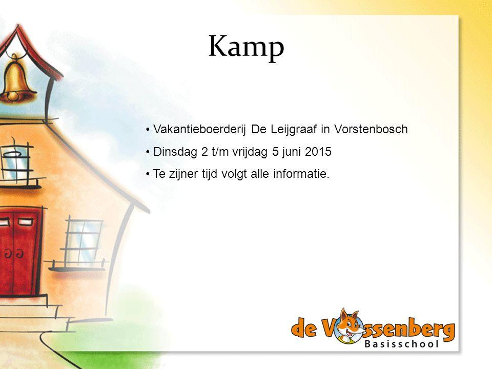 Kamp Vakantieboerderij De Leijgraaf in Vorstenbosch Dinsdag 2 t/m vrijdag 5 juni 2015 Te zijner tijd volgt alle informatie.
