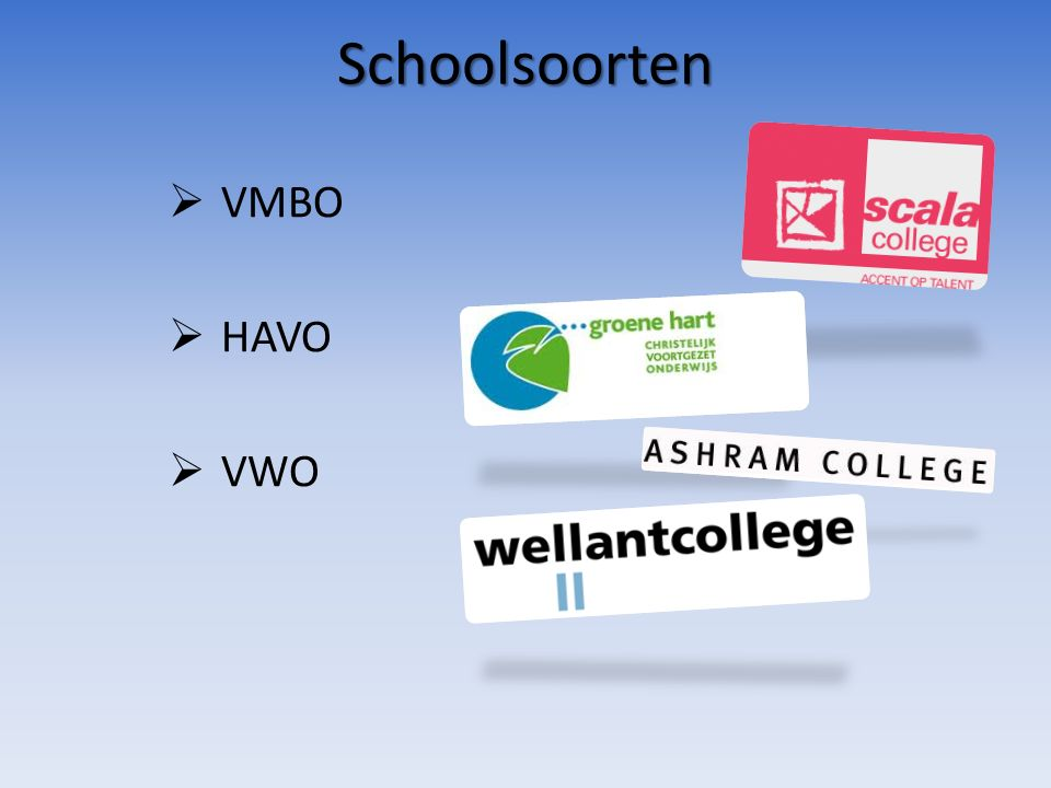 Schoolsoorten  VMBO  HAVO  VWO