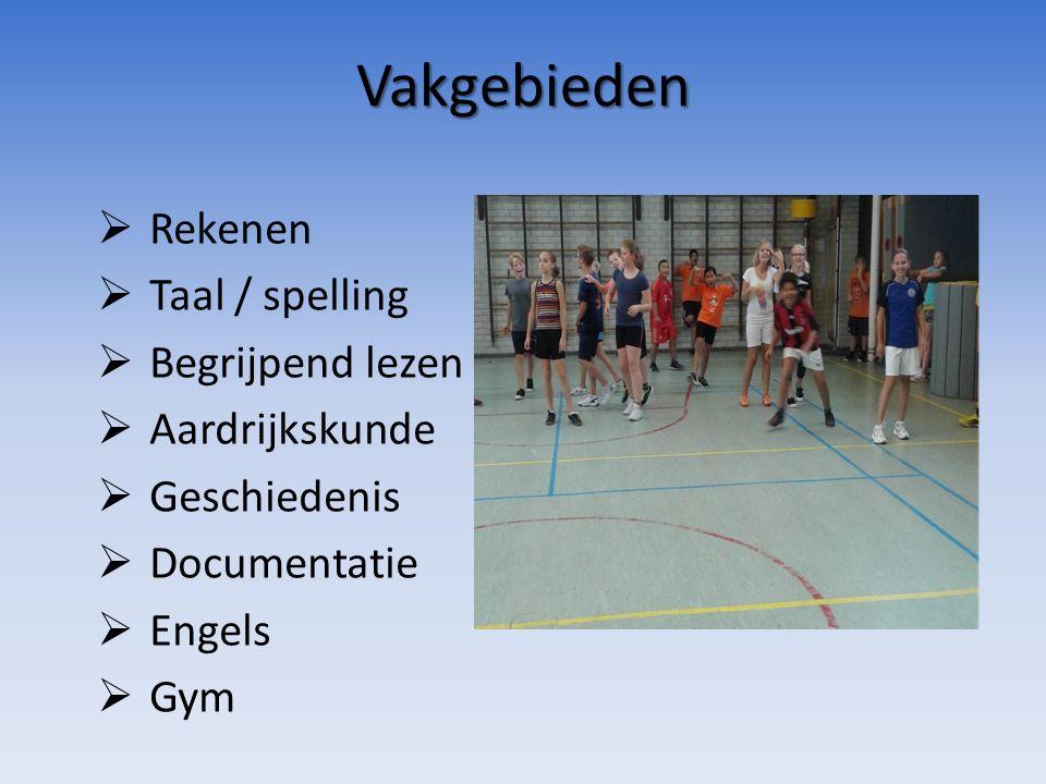 Vakgebieden  Rekenen  Taal / spelling  Begrijpend lezen  Aardrijkskunde  Geschiedenis  Documentatie  Engels  Gym