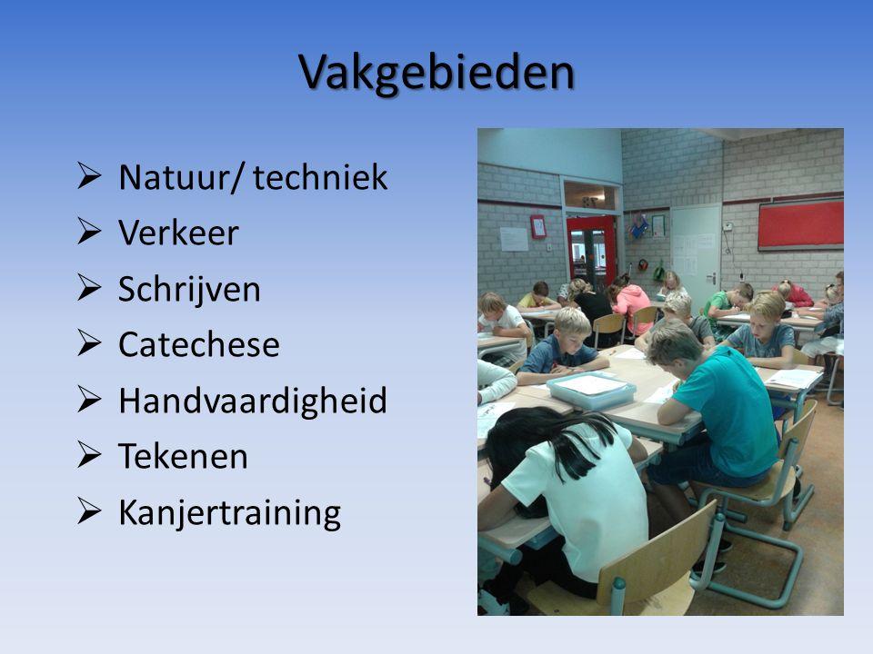 Vakgebieden  Natuur/ techniek  Verkeer  Schrijven  Catechese  Handvaardigheid  Tekenen  Kanjertraining