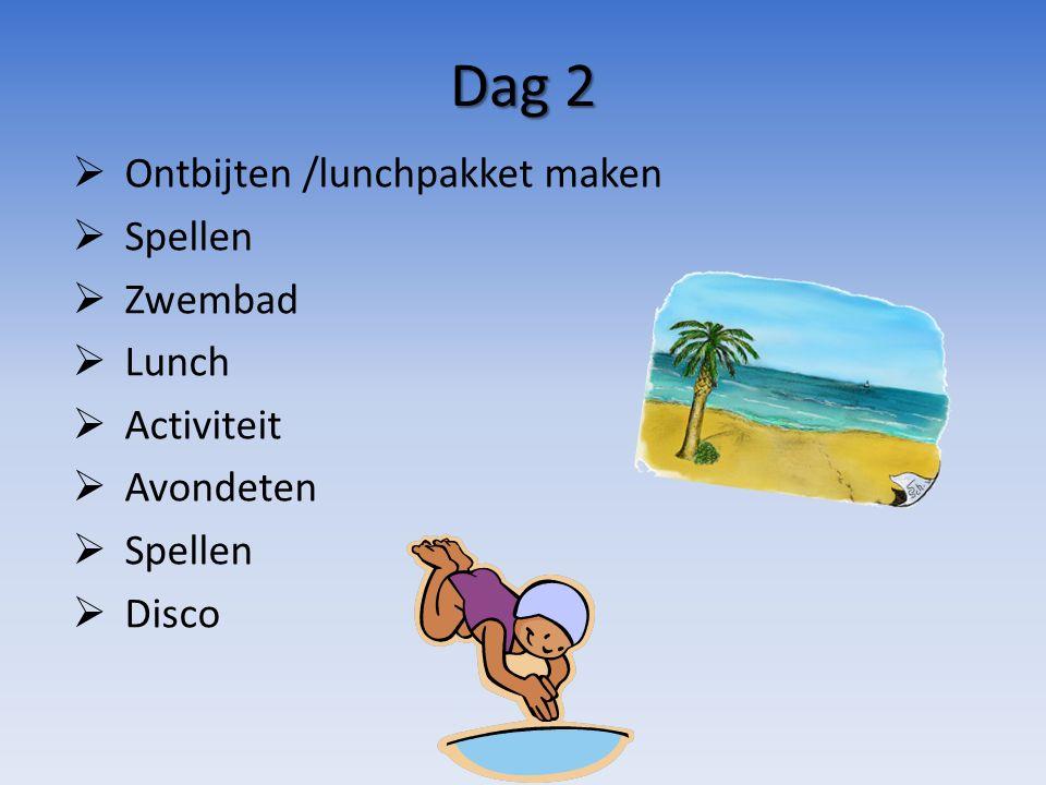 Dag 2  Ontbijten /lunchpakket maken  Spellen  Zwembad  Lunch  Activiteit  Avondeten  Spellen  Disco
