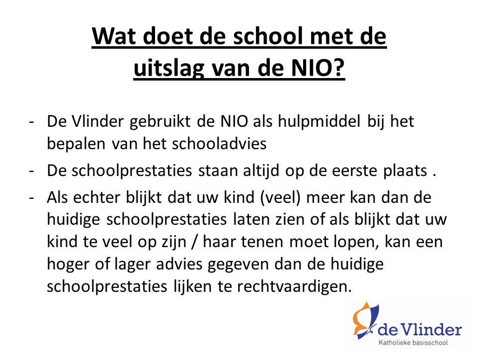 Wat doet de school met de uitslag van de NIO.