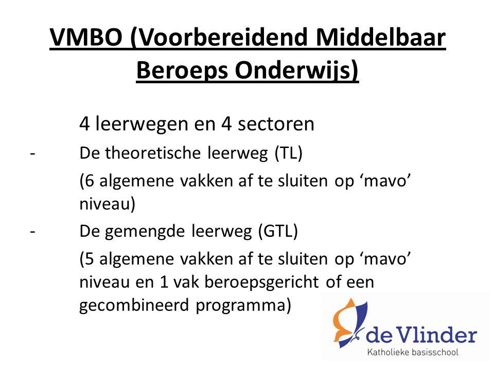 VMBO (Voorbereidend Middelbaar Beroeps Onderwijs) 4 leerwegen en 4 sectoren -De theoretische leerweg (TL) (6 algemene vakken af te sluiten op 'mavo' niveau) -De gemengde leerweg (GTL) (5 algemene vakken af te sluiten op 'mavo' niveau en 1 vak beroepsgericht of een gecombineerd programma)