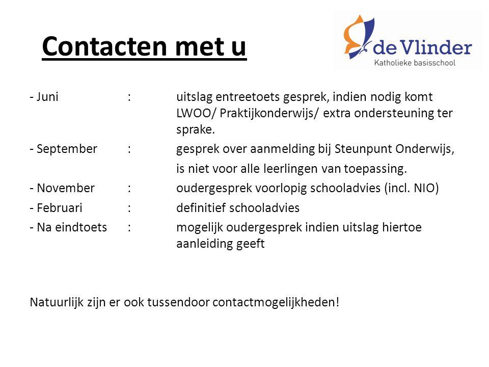 Contacten met u - Juni:uitslag entreetoets gesprek, indien nodig komt LWOO/ Praktijkonderwijs/ extra ondersteuning ter sprake.