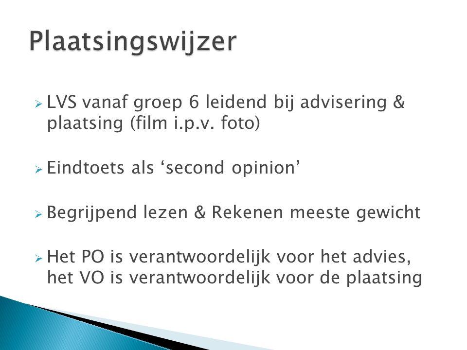  LVS vanaf groep 6 leidend bij advisering & plaatsing (film i.p.v.