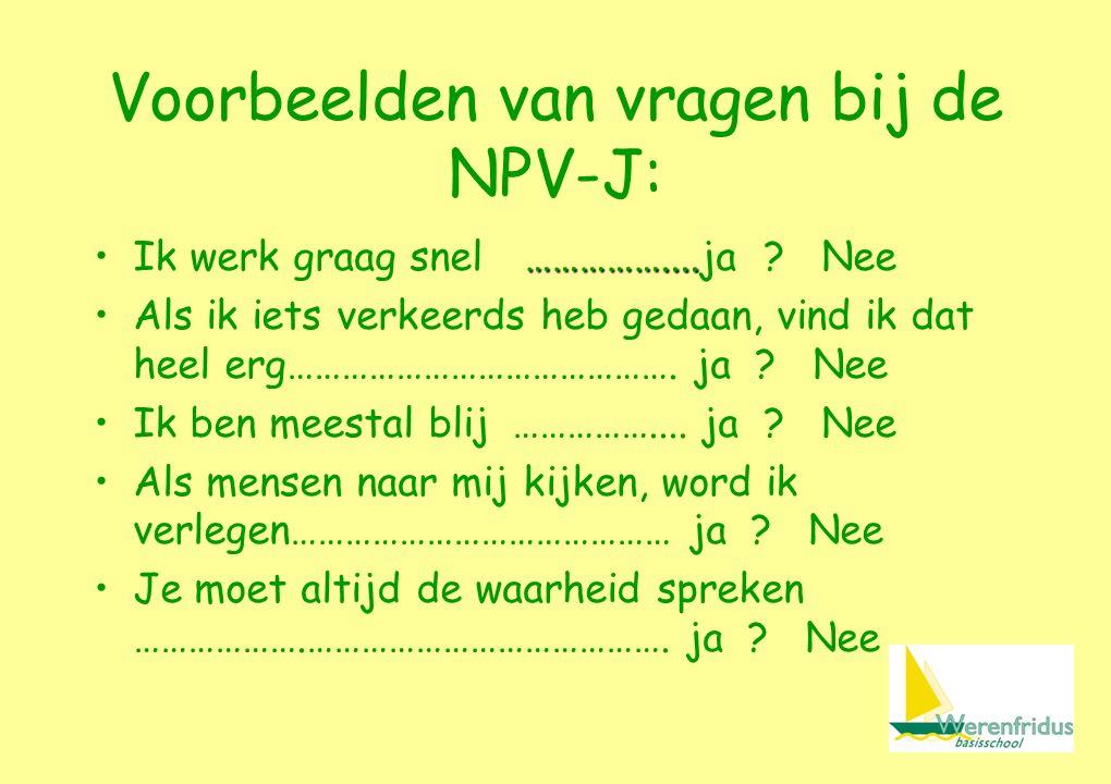 Voorbeelden van vragen bij de NPV-J: ……………....Ik werk graag snel ……………....ja .