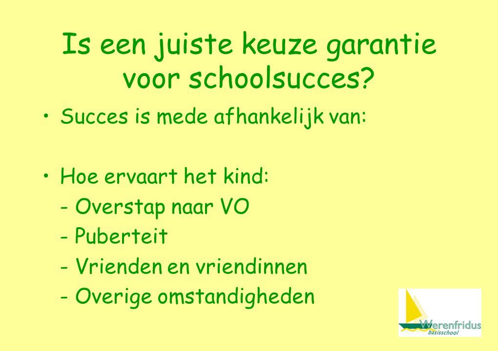 Succes is mede afhankelijk van: Hoe ervaart het kind: - Overstap naar VO - Puberteit - Vrienden en vriendinnen - Overige omstandigheden Is een juiste keuze garantie voor schoolsucces
