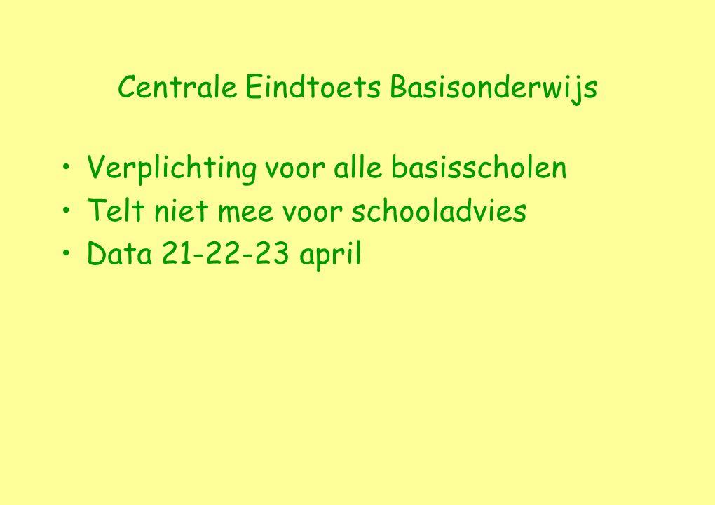Centrale Eindtoets Basisonderwijs Verplichting voor alle basisscholen Telt niet mee voor schooladvies Data 21-22-23 april
