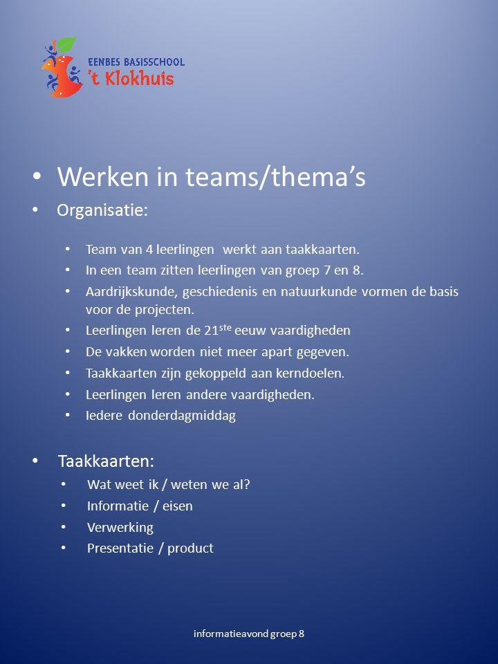 Werken in teams/thema's Organisatie: Team van 4 leerlingen werkt aan taakkaarten.