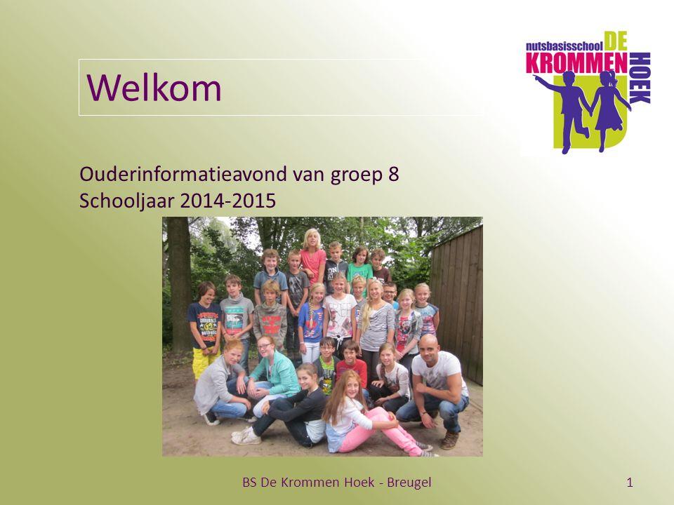 BS De Krommen Hoek - Breugel1 Welkom Ouderinformatieavond van groep 8 Schooljaar 2014-2015