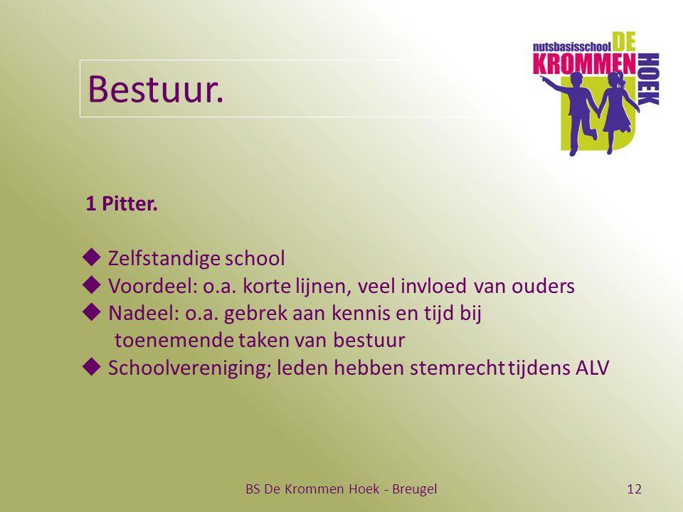 BS De Krommen Hoek - Breugel12 Bestuur. 1 Pitter.  Zelfstandige school  Voordeel: o.a. korte lijnen, veel invloed van ouders  Nadeel: o.a. gebrek a