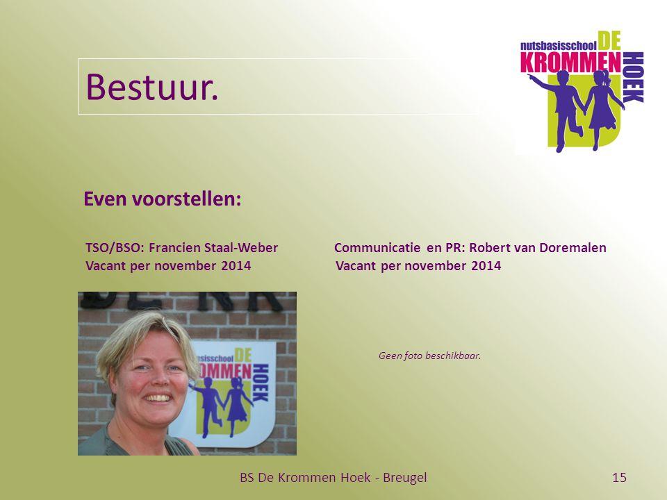 BS De Krommen Hoek - Breugel15 Bestuur. Even voorstellen: TSO/BSO: Francien Staal-Weber Communicatie en PR: Robert van Doremalen Vacant per november 2