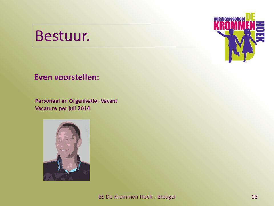 BS De Krommen Hoek - Breugel16 Bestuur. Even voorstellen: Personeel en Organisatie: Vacant Vacature per juli 2014