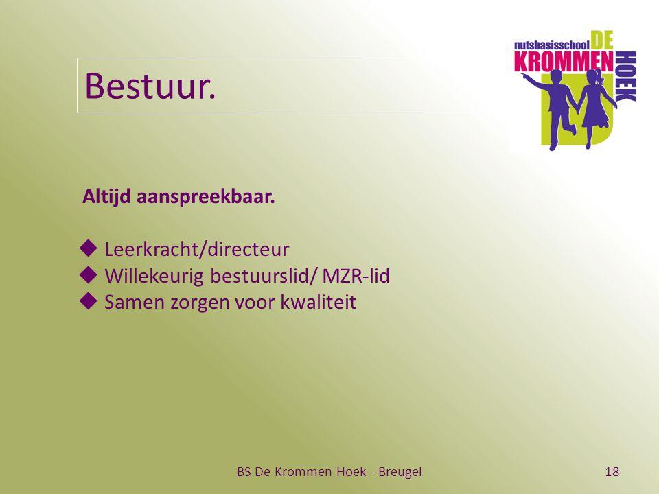 BS De Krommen Hoek - Breugel18 Bestuur. Altijd aanspreekbaar.  Leerkracht/directeur  Willekeurig bestuurslid/ MZR-lid  Samen zorgen voor kwaliteit