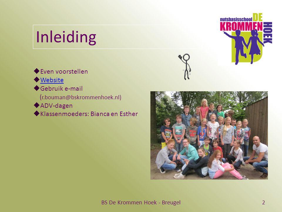 BS De Krommen Hoek - Breugel2 Inleiding  Even voorstellen  Website Website  Gebruik e-mail ( r.bouman@bskrommenhoek.nl)  ADV-dagen  Klassenmoeders: Bianca en Esther