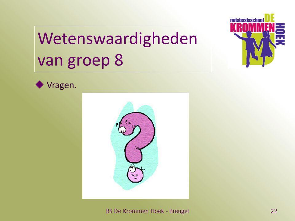 BS De Krommen Hoek - Breugel22 Wetenswaardigheden van groep 8  Vragen.