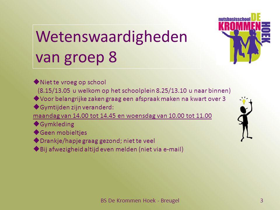 BS De Krommen Hoek - Breugel3 Wetenswaardigheden van groep 8  Niet te vroeg op school (8.15/13.05 u welkom op het schoolplein 8.25/13.10 u naar binne