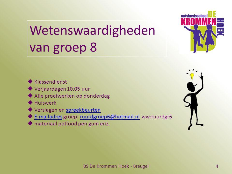 BS De Krommen Hoek - Breugel4 Wetenswaardigheden van groep 8  Klassendienst  Verjaardagen 10.05 uur  Alle proefwerken op donderdag  Huiswerk  Ver