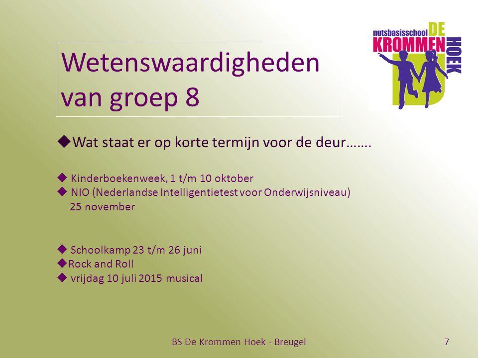 BS De Krommen Hoek - Breugel7 Wetenswaardigheden van groep 8  Wat staat er op korte termijn voor de deur…….