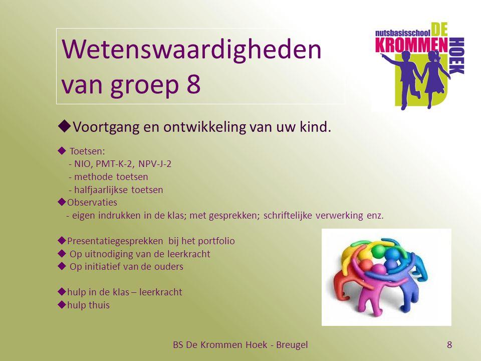 BS De Krommen Hoek - Breugel8 Wetenswaardigheden van groep 8  Voortgang en ontwikkeling van uw kind.  Toetsen: - NIO, PMT-K-2, NPV-J-2 - methode toe