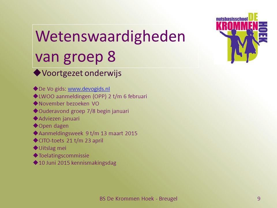 BS De Krommen Hoek - Breugel9 Wetenswaardigheden van groep 8  Voortgezet onderwijs  De Vo gids: www.devogids.nlwww.devogids.nl  LWOO aanmeldingen (