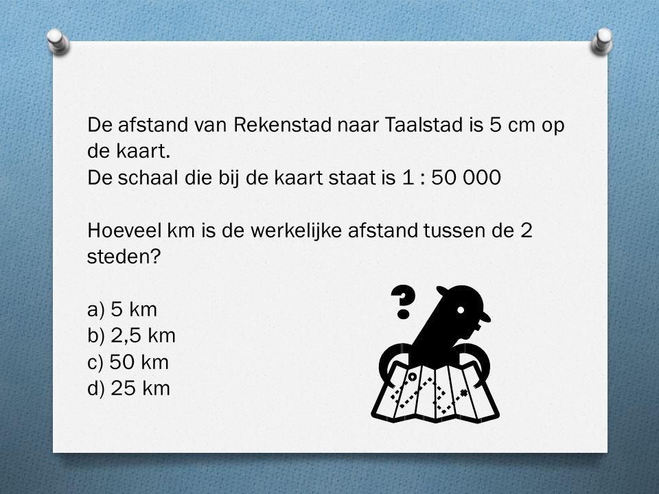 De afstand van Rekenstad naar Taalstad is 5 cm op de kaart.