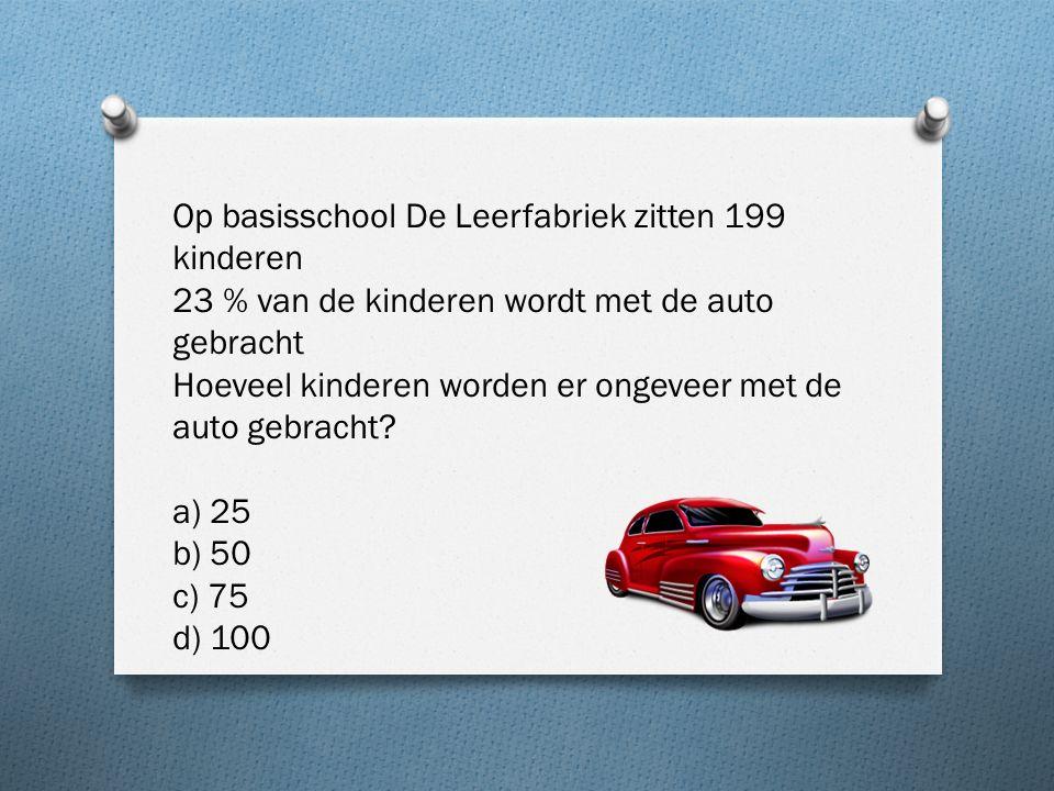 Op basisschool De Leerfabriek zitten 199 kinderen 23 % van de kinderen wordt met de auto gebracht Hoeveel kinderen worden er ongeveer met de auto gebracht.