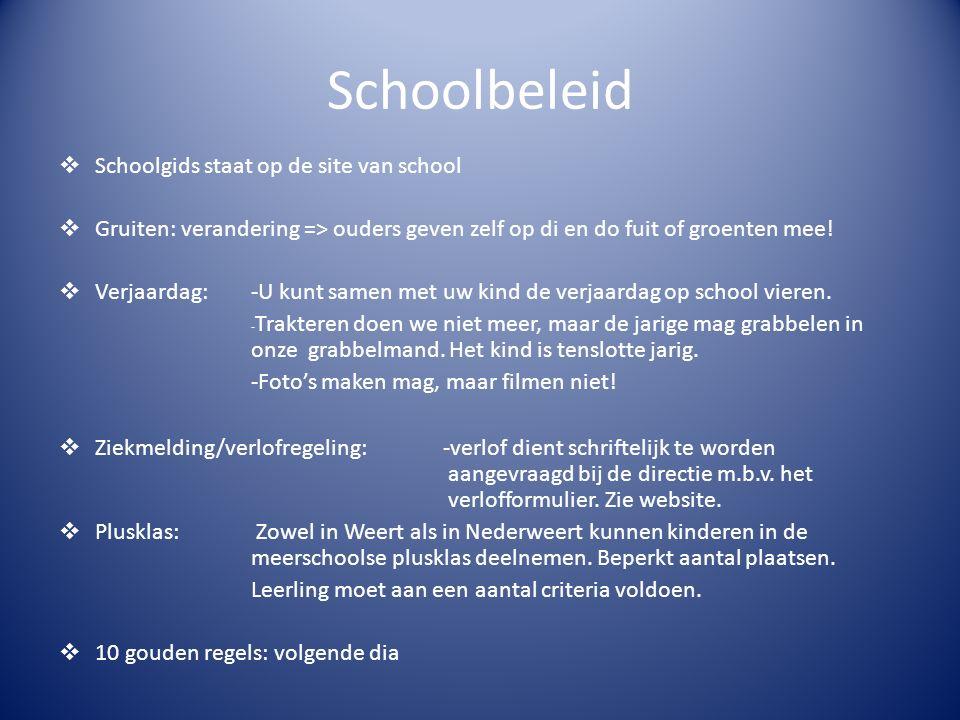Schoolbeleid  Schoolgids staat op de site van school  Gruiten: verandering => ouders geven zelf op di en do fuit of groenten mee!  Verjaardag:-U ku
