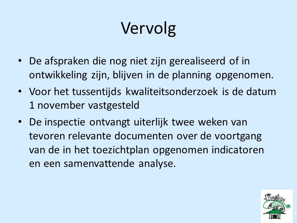 Vervolg De afspraken die nog niet zijn gerealiseerd of in ontwikkeling zijn, blijven in de planning opgenomen.