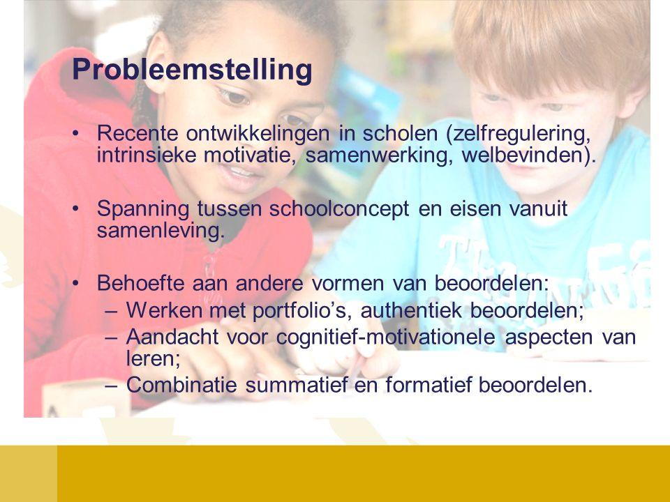 Probleemstelling Recente ontwikkelingen in scholen (zelfregulering, intrinsieke motivatie, samenwerking, welbevinden). Spanning tussen schoolconcept e