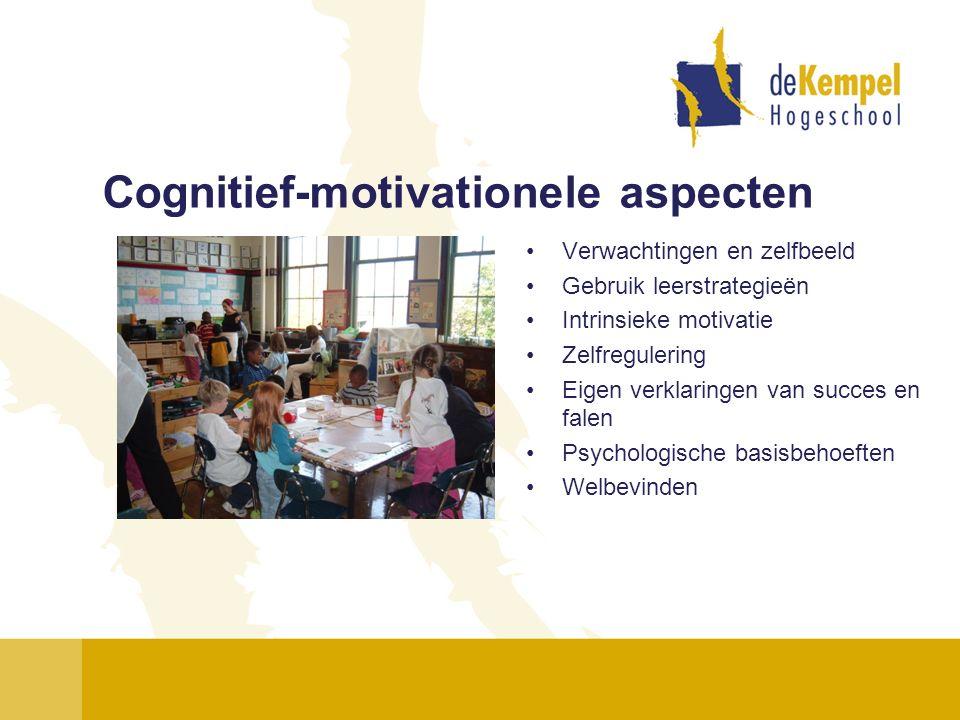 Cognitief-motivationele aspecten Verwachtingen en zelfbeeld Gebruik leerstrategieën Intrinsieke motivatie Zelfregulering Eigen verklaringen van succes