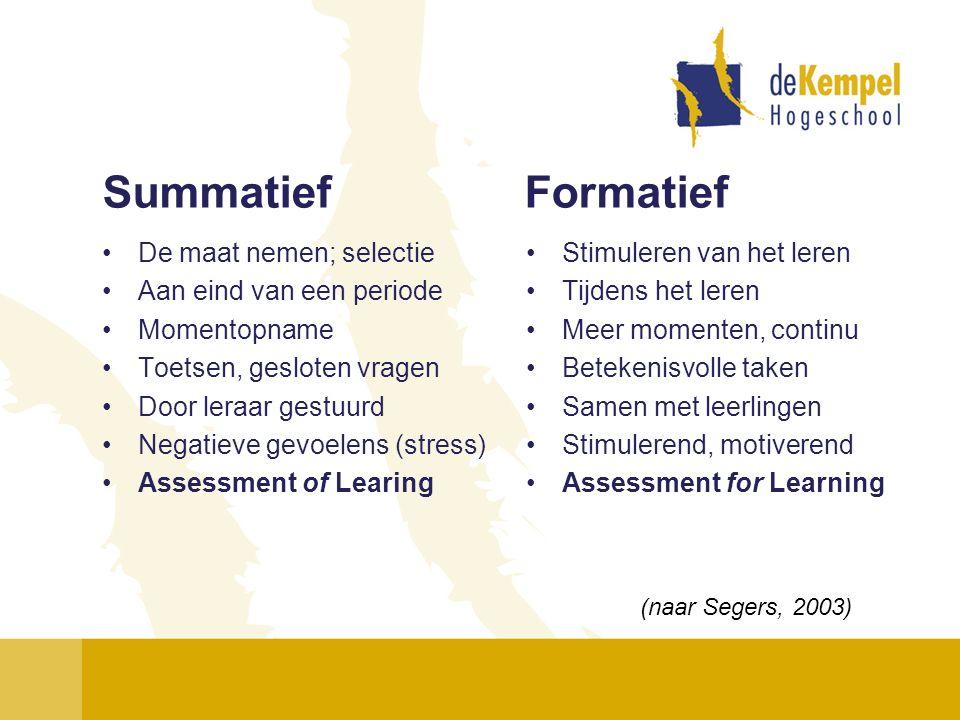Summatief Formatief De maat nemen; selectie Aan eind van een periode Momentopname Toetsen, gesloten vragen Door leraar gestuurd Negatieve gevoelens (s