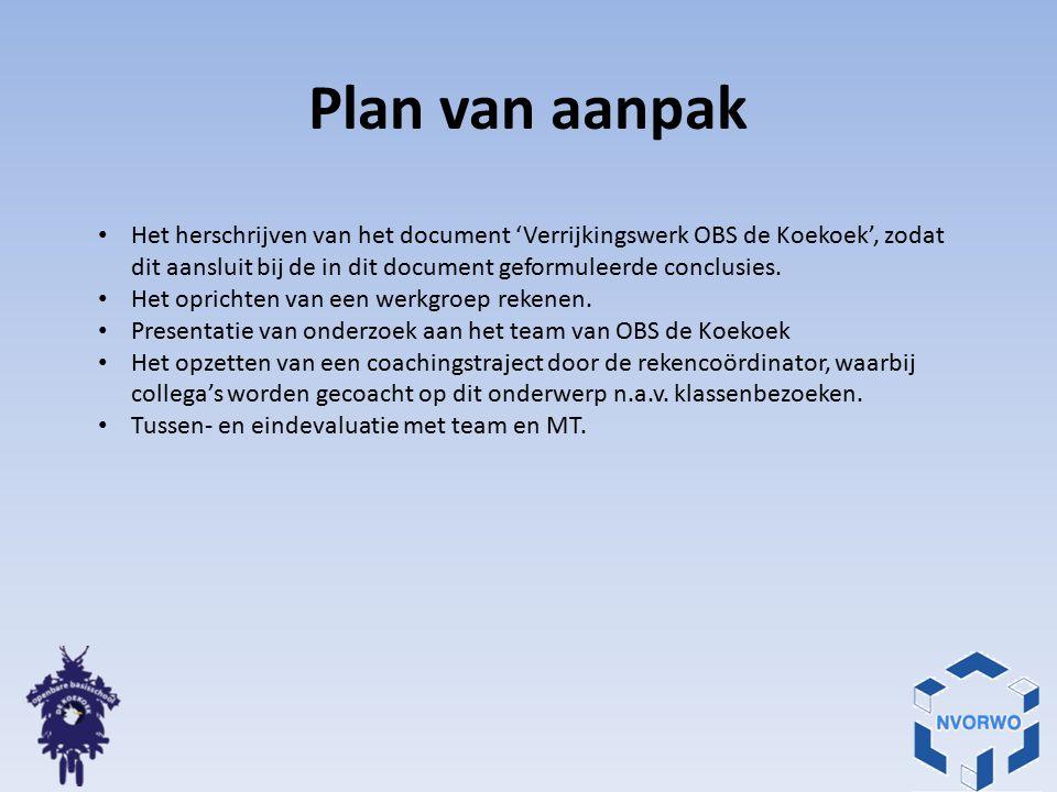 Plan van aanpak Het herschrijven van het document 'Verrijkingswerk OBS de Koekoek', zodat dit aansluit bij de in dit document geformuleerde conclusies.