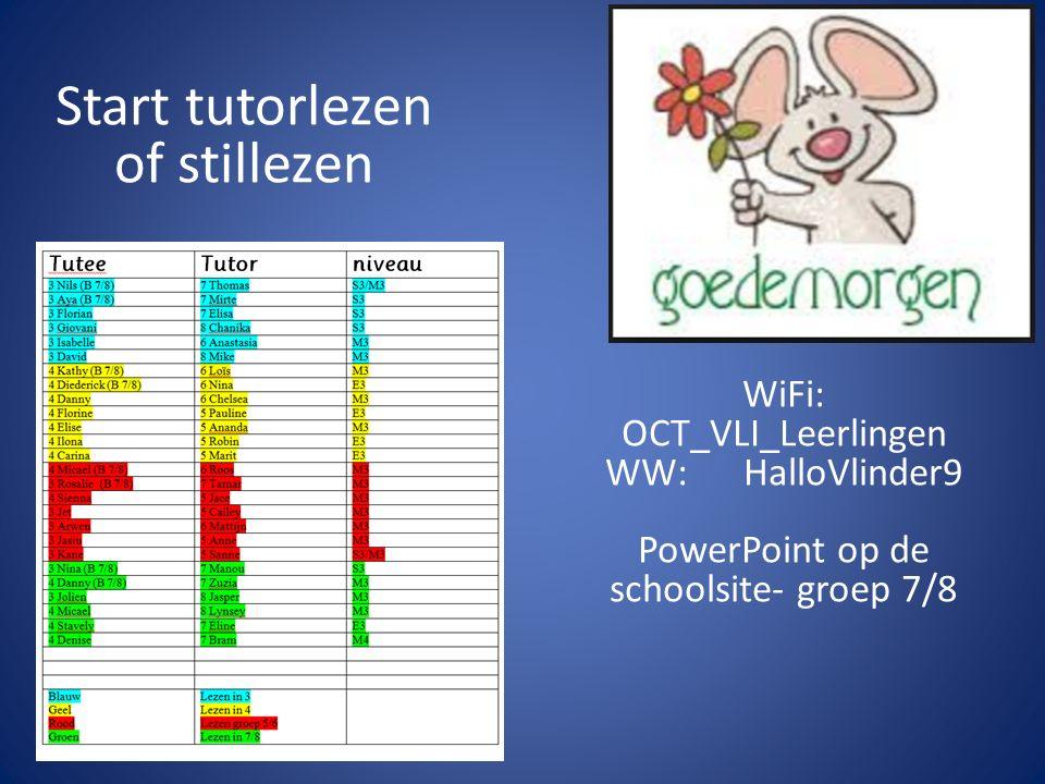 Start tutorlezen of stillezen WiFi: OCT_VLI_Leerlingen WW: HalloVlinder9 PowerPoint op de schoolsite- groep 7/8
