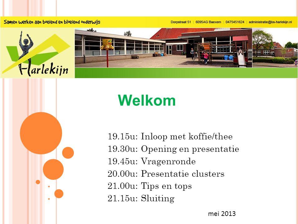 mei 2013 Welkom 19.15u: Inloop met koffie/thee 19.30u: Opening en presentatie 19.45u: Vragenronde 20.00u: Presentatie clusters 21.00u: Tips en tops 21.15u: Sluiting