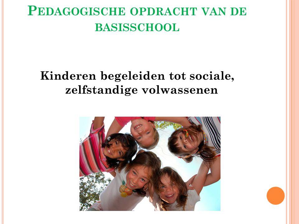 P EDAGOGISCHE OPDRACHT VAN DE BASISSCHOOL Kinderen begeleiden tot sociale, zelfstandige volwassenen