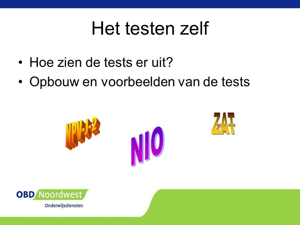 Het testen zelf Hoe zien de tests er uit Opbouw en voorbeelden van de tests