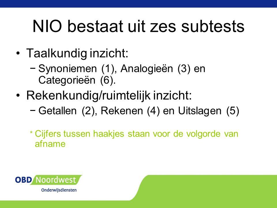 NIO bestaat uit zes subtests Taalkundig inzicht: −Synoniemen (1), Analogieën (3) en Categorieën (6).