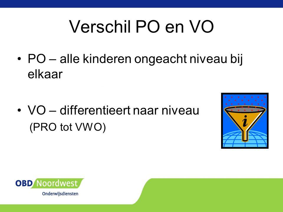 Verschil PO en VO PO – alle kinderen ongeacht niveau bij elkaar VO – differentieert naar niveau (PRO tot VWO)