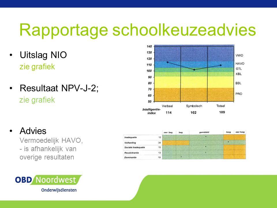 Rapportage schoolkeuzeadvies Uitslag NIO zie grafiek Resultaat NPV-J-2; zie grafiek Advies Vermoedelijk HAVO, - is afhankelijk van overige resultaten