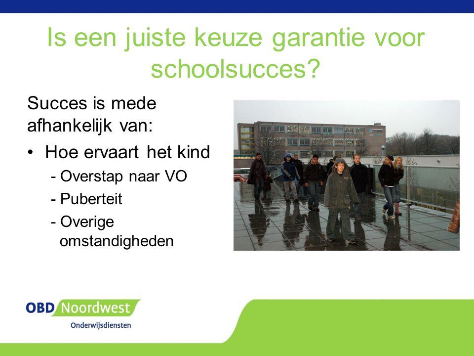 Is een juiste keuze garantie voor schoolsucces.