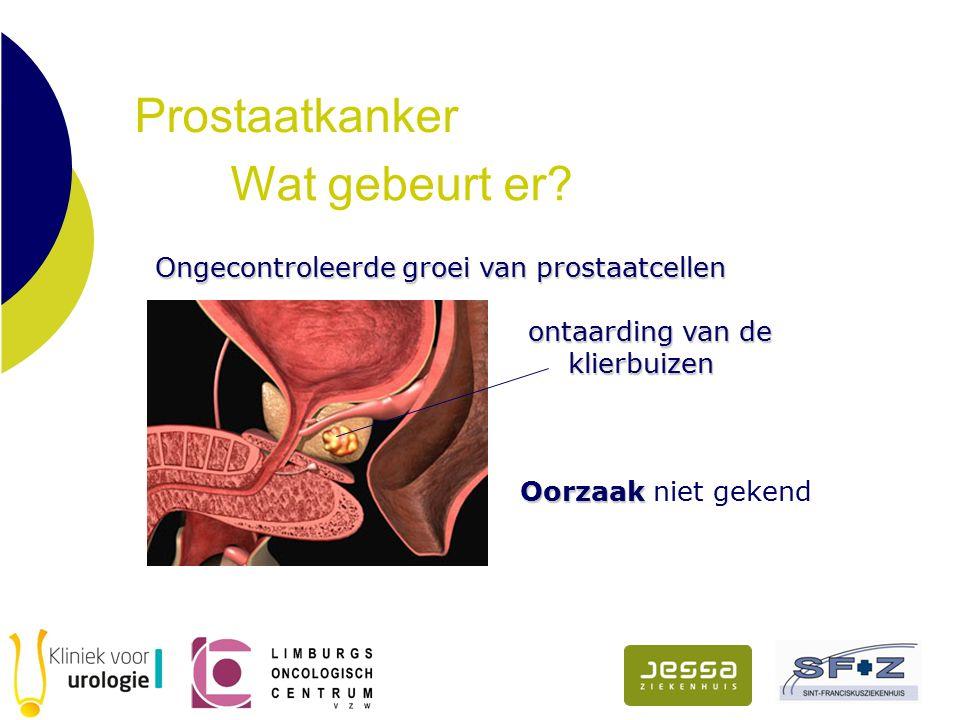Prostaatkanker Wat gebeurt er? Ongecontroleerde groei van prostaatcellen Ongecontroleerde groei van prostaatcellen ontaarding van de klierbuizen Oorza