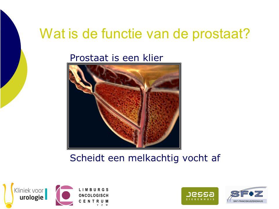 Behandeling van prostaatkanker Hangt af van verschillende factoren agressiviteitgraad agressiviteitgraad het stadium het stadium de algemene gezondheidstoestand de algemene gezondheidstoestand de leeftijd de leeftijd de voordelen en eventuele nadelen + de voordelen en eventuele nadelen + bijwerkingen van de behandeling bijwerkingen van de behandeling